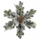 24 in. Flocked Pinecone and Fern Snowflake