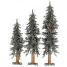 2-3-4 ft. Frosted Alpine Artificial Christmas Tree with Pinecones and Red Berries (Set of 3)