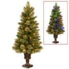 4-1/2 ft. Kenora Cashmere Entrance Artificial Christmas Tree in Dark Bronze Plastic Urn