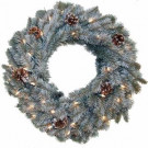 24 in. Pre Lit Siberian Artificial Wreath with Clear Lights and Pine Cones