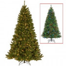 7.5 ft. Indoor Pre-Lit LED North Valley Spruce Artificial Christmas Tree with 9-Function Switch and Dual Color Lights