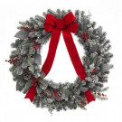 30 in. Snowy Artificial Wreath with Pinecones and Bow