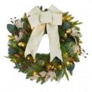 30 in. Pre-Lit Golden Ribbon Decorative Wreath