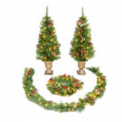 4 ft. Pre-Lit St. Nicolas Entryway Artificial Christmas Tree Set with 2 Trees, Garland and Wreath