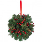 14 in. PVC Red Berry and Pinecone Artificial Kissing Ball