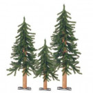 2-3-4 ft. Gatlinburg Artificial Christmas Tree with Wooden Trunks (Set of 3)