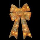 23.5 in. Pre-Lit Gold Sisal Bow