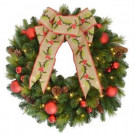 30 in. Holly Diamond Pre-Lit Artificial Wreath