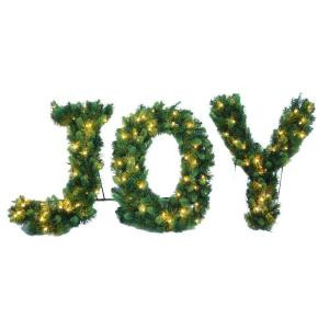 24 in. Pre-Lit LED Joy Decorated Letter Shape Artificial Christmas Tree with 90 Lights