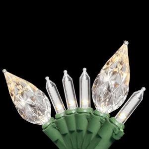 50-Light LED Soft White Bulb String Light Set with C7 Diamond Caps