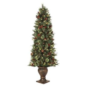 6.5 ft. Pre-Lit Potted Artificial Christmas Tree with Clear Lights (Set of 2)
