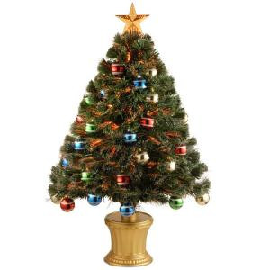 3 ft. Fiber Optic Fireworks Artificial Christmas Tree with Ball Ornaments