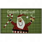 Santa's Greetings 17 in. x 29 in. Printed Nylon Door Mat