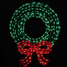 36 in. LED Outdoor Wreath with Bow Sculpture and 280 C5 Twinkling Green and Red Lights
