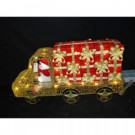 24 in. 59-Light Gold Metal Truck with Snowman in the Driver's Seat