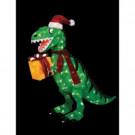 42 in. Animated Tinsel Dinosaur with Present