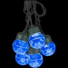 8-Light Icy Blue Projection Round Light String with Clips