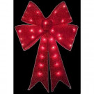 24 in. Lighted Red Tinsel Bow