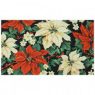 All Over Poinsettia 17 in. x 29 in. Digital Printed Echo Door Mat