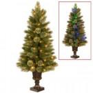 4-1/2 ft. Kenora Cashmere Entrance Artificial Christmas Tree in Dark Bronze Plastic Urn