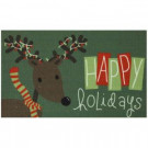 Happy Rudolph 17 in. x 29 in. Digital Printed Door Mat