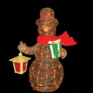 3 ft. Lighted Decorated Rattan Snowman