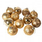 4 in. Gold Decorated Glass Ornaments (Set of 12)