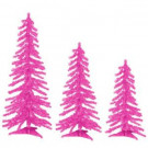 2 ft., 3 ft. and 4 ft. Pre-Lit Pink Tinsel Alpine Artificial Christmas Tree with Pink Lights (Set of 3)
