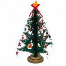11.75 in. Wooden Tree with Miniature Wooden Ornaments, 25 Piece Set