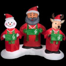 6 ft. Animated Inflatable African American Santa Snowman and Reindeer Gospel Trio