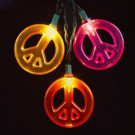 Multicolored Peace Sign 10-Light Set