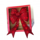 24 in. Red Battery Operated Tinsel Lighted Bow