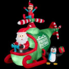 89.76 in. W x 56.69 in. D x 74.8 in. H Animated Inflatable Santa and Friends Helicopter
