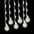 60-Light LED Pure White Icicle Snowflake Light Set
