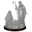 15.25 in. Clear Acrylic Holy Family On Wooden Base with Light (Set of 4 Pieces without Battery)