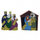 Nativity Set 36 in Hammered Metal Yard Art