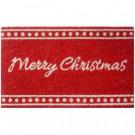 Red Christmas 18 in. x 30 in. Hand Woven Coconut Fiber Door Mat