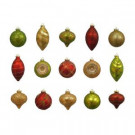 Red-Gold-Green Assorted Glass Ornament (15-Count)