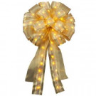 14 in. Pre-Lit LED Gold Ribbon Bow