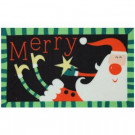 Merry Santa Star 17 in. x 29 in. Digital Printed Echo Door Mat