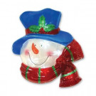 13.75 in. Battery-Operated Pure White Twinkling LED Snowman Icy Window Decor