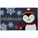 Celebrate Penguin 17 in. x 29 in. Hand Hooked Door Mat