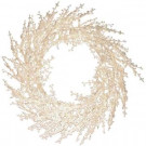 30 in. White Winter Berry Lighted Wreath with Clear Lights