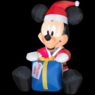 3 ft. Inflatable Airblown Lighted Outdoor Mickey Santa with Present