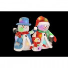 14 in. Cotton Red Snowman Family with 24 Color Changing LED Lights-CUL with Transformer