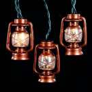 10-Light Clear Brass Lantern Light Set