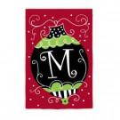 1 ft. x 1-1/2 ft. Monogrammed M Christmas Ornament Garden Flag
