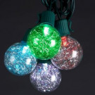 10-Light LED Silver Tinsel Balls Light Set