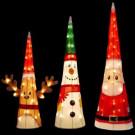 18 in. Reindeer, 24 in. Snowman, 32 in. Santa Pre-Lit 3D Soft Tinsel Character Cones