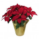 21 in. Red Silk Poinsettia Arrangement (Pack of 8)